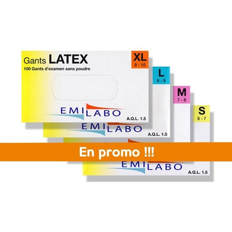 Gant latex sans poudre Emilabo - Boite x 100 - Toutes tailles