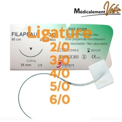 Soins médicaux Ligature FILAPEAU sutures non résorbantes - Toutes tailles - Boite x 12