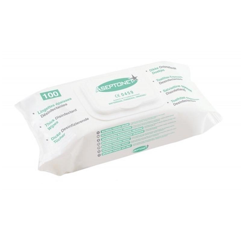 Lingettes  Lingettes épaisses Aseptonet - Nettoyantes et désinfectantes - Paquet souple de 100