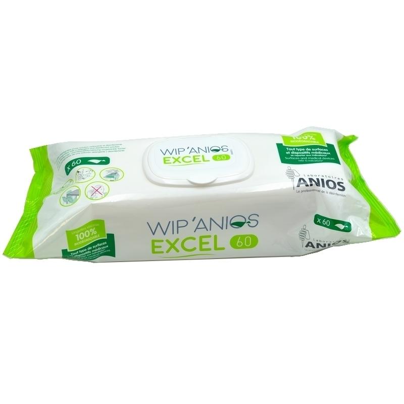 Lingettes désinfectantes Lingettes biodégradables Excel - ANIOS - Paquet de 60