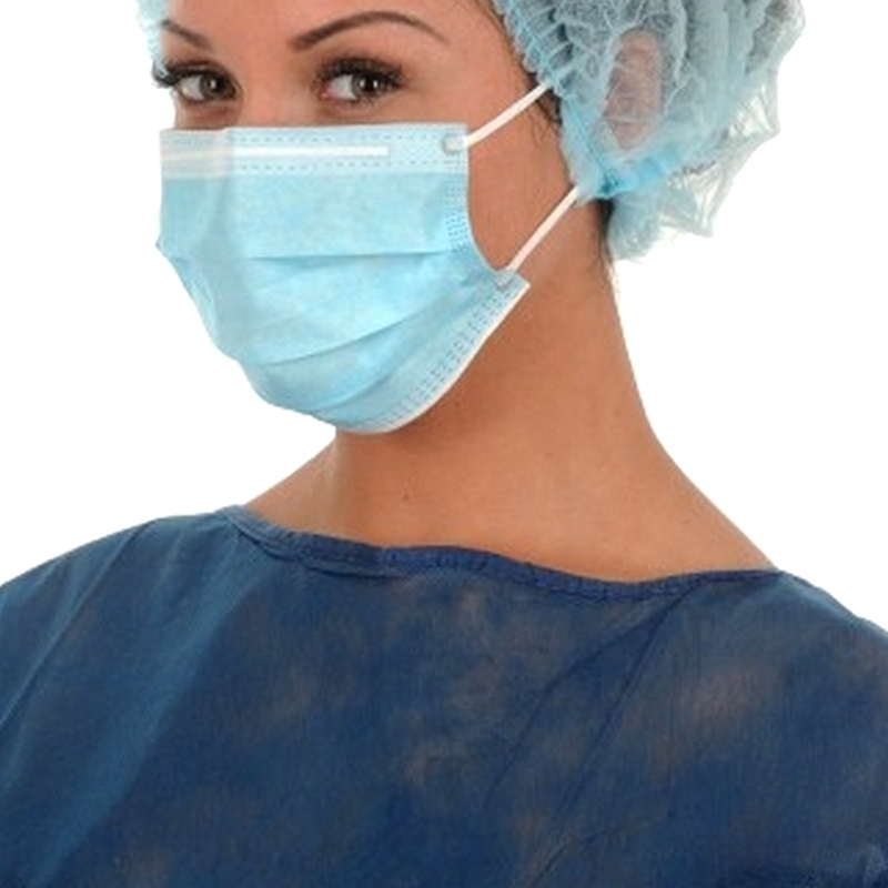 Masques Masque de chirurgie bleu 3 plis - Avec élastique - Mask + Medistock - Boite de 50