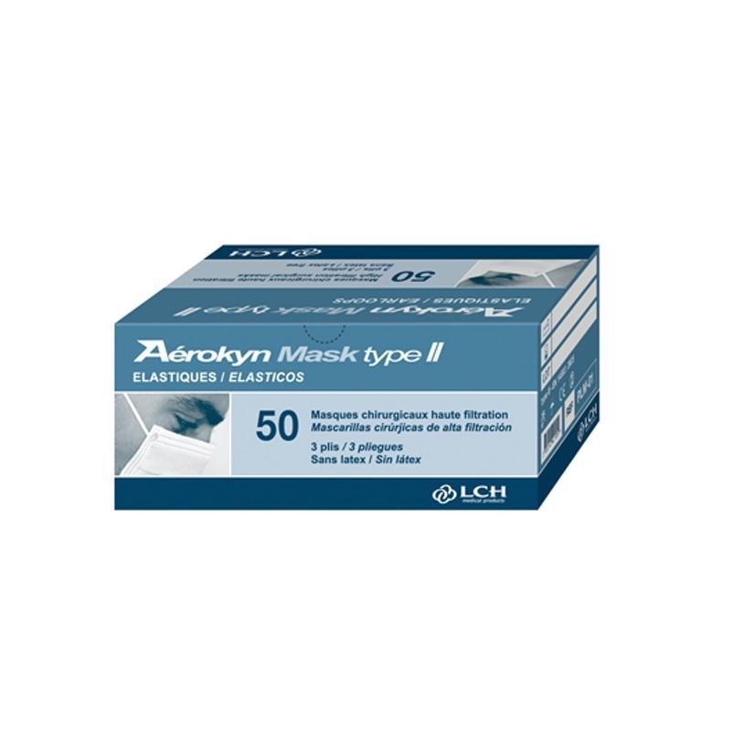 Masque élastique bleu 3 plis - Aérokyn LCH - Boite de 50