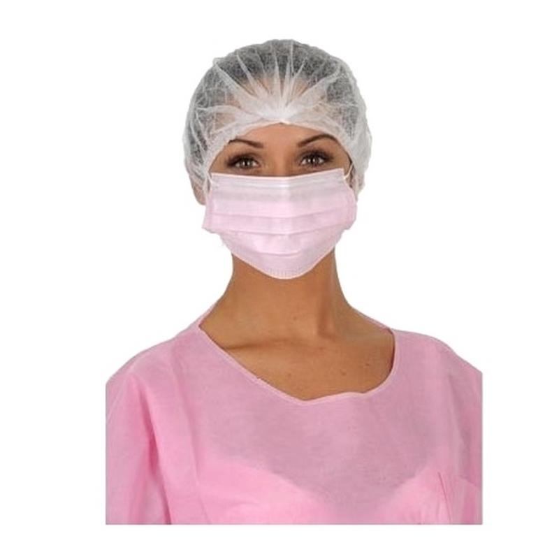 Masques Masque de chirurgie rose 3 plis - Avec élastique - Mask +R Medistock - Boite de 50