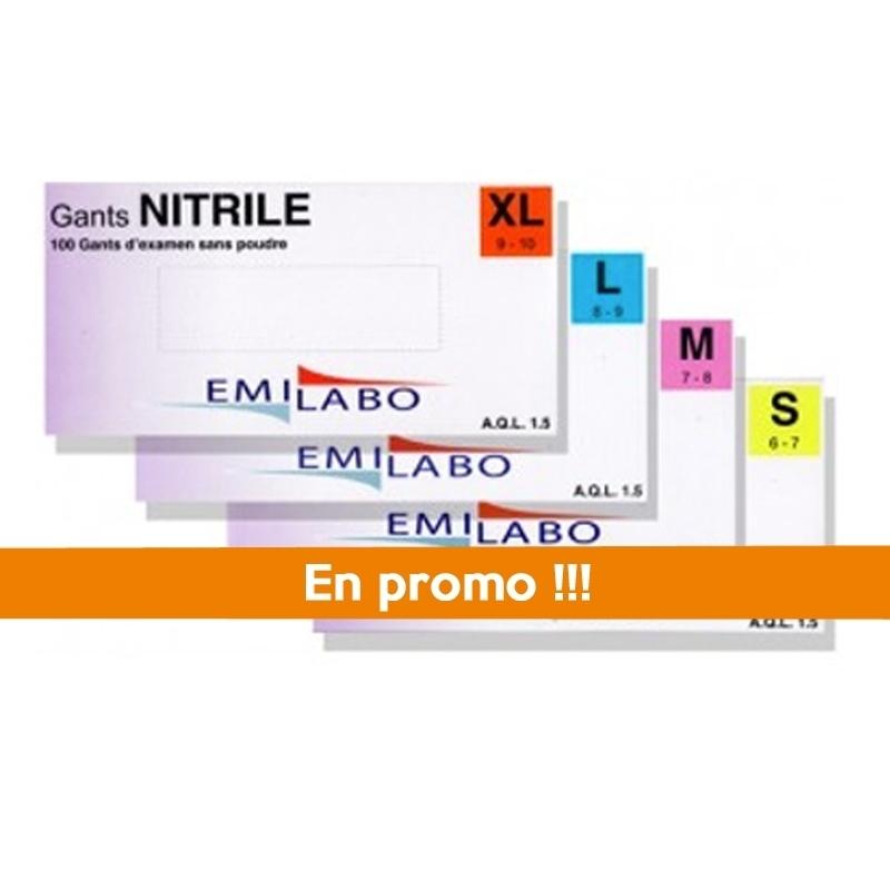Toutes les promotions Gant nitrile sans poudre Emilabo - Boite x 100 - Toutes tailles