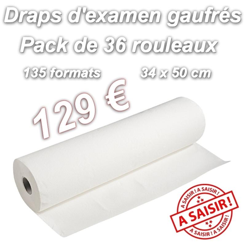 Draps d'examen gaufrés - 135 formats 34 x 50 - Pack de 36 rouleaux