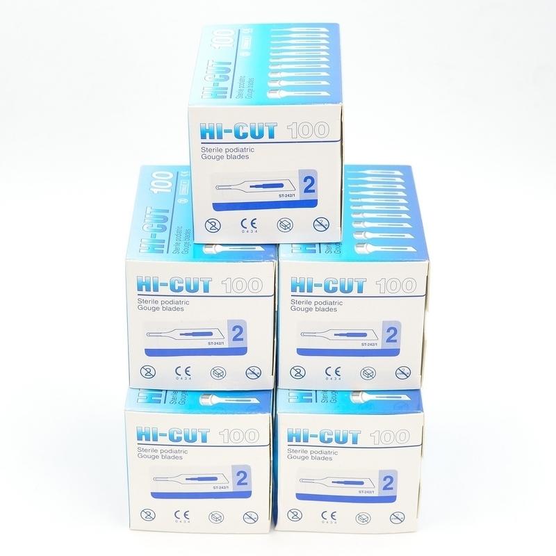 Lames de gouges & Manche de gouge Pack de 5 boites de lames de gouges stériles HI Cut - Boîte de 100 lames - N° 1 ou N° 2