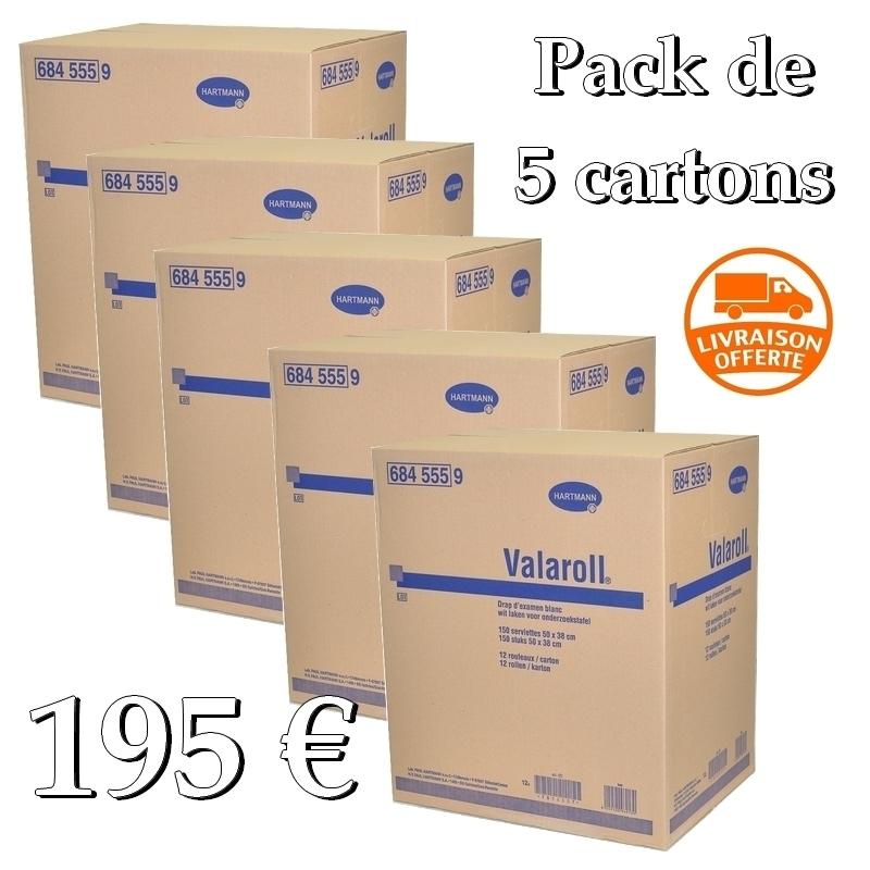 Draps d'examen Valaroll Hartmann- 150 formats 38 x 50 - Pack de 5 cartons de 12 rouleaux