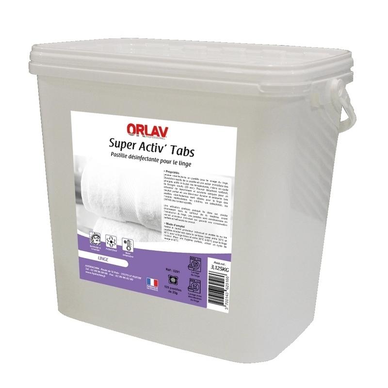 Produits d'entretien Pastilles désinfectantes linge - Super Activ' Tabs Orlav - Seau de 3,125 kg