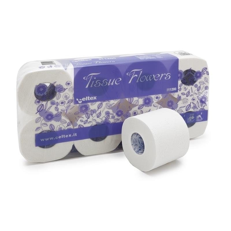 Papier toilette & Hygiénique Papier toilette Tissue Flowers Celtex - 250 formats 3 plis - Ballot de 8 rouleaux