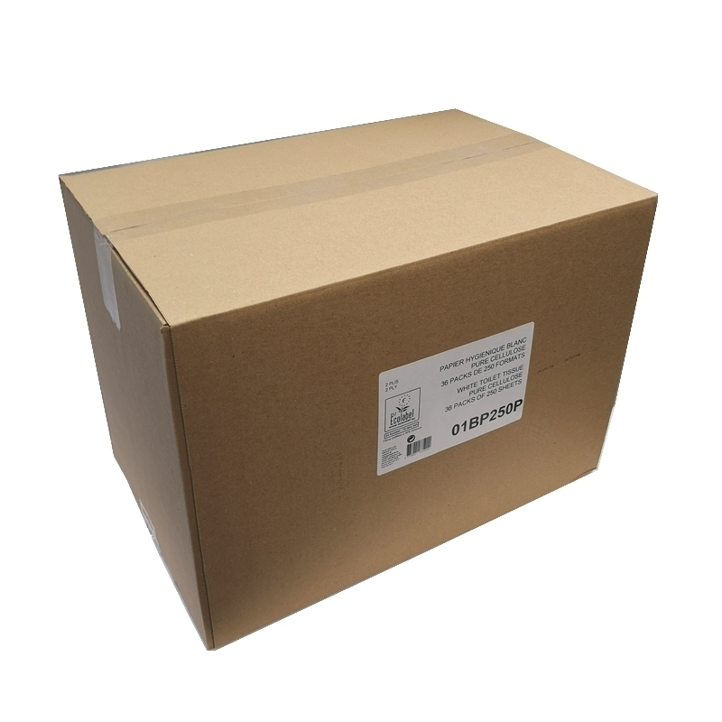 Papier toilette feuille à feuille - Ecolabel 250 feuilles 2 plis -  Carton de 36 paquets