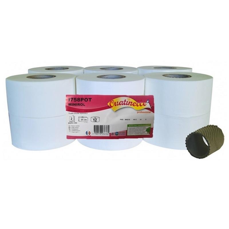 Papier toilette & Hygiénique Papier hygiénique Mini Jumbo - Ouatinelle I758 - Ballot de 12 rouleaux