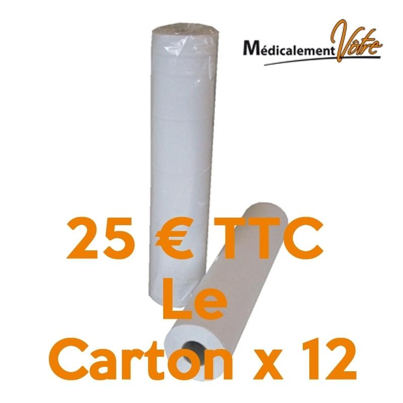 Draps d'examen lisse - 135 formats 35 x 50 - 5 Cartons x 12 rouleaux