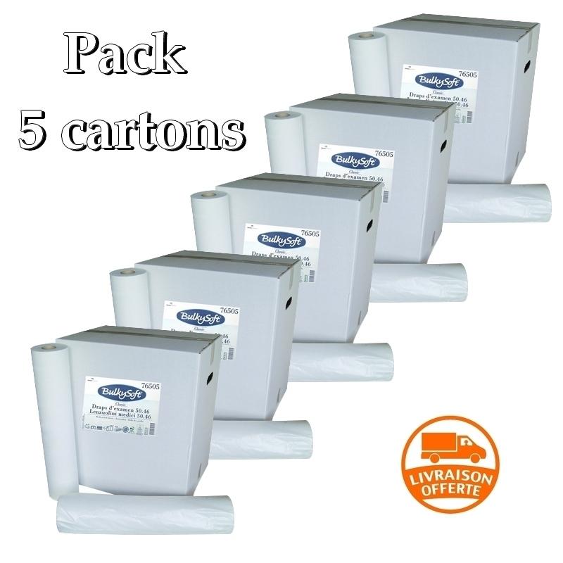 Draps d'examen lisses - 135 formats 34 x 50 - BulkySoft 76505 -  Pack de 5 cartons de 12 rouleaux