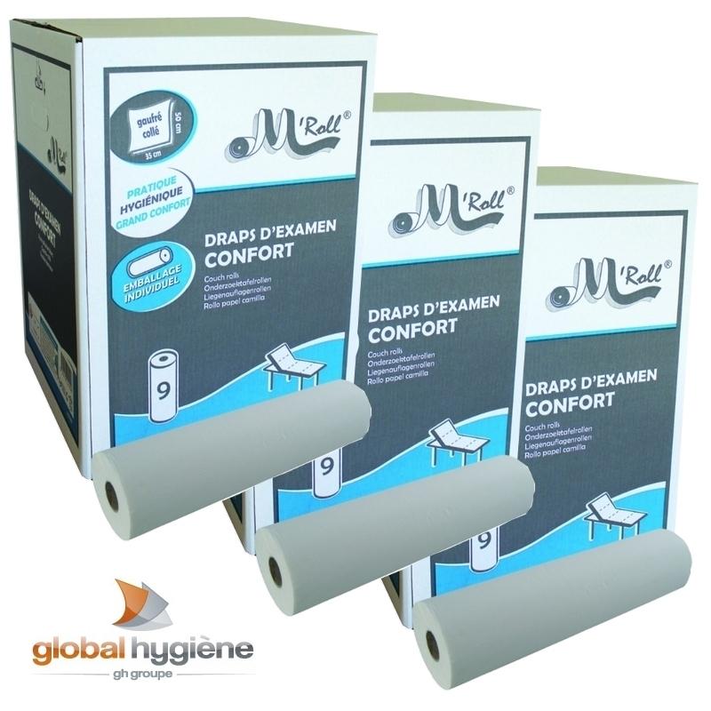 Draps d'examen classiques Draps d'examen Confort gaufré collé - 121 formats 35 x 50 - Global Hygiène J222 - Pack de 3 cartons de 9 rouleaux