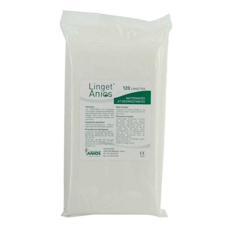 Lingettes désinfectantes Linget'Anios - Nettoyantes & désinfectantes - Recharge grand modèle - Paquet de 120