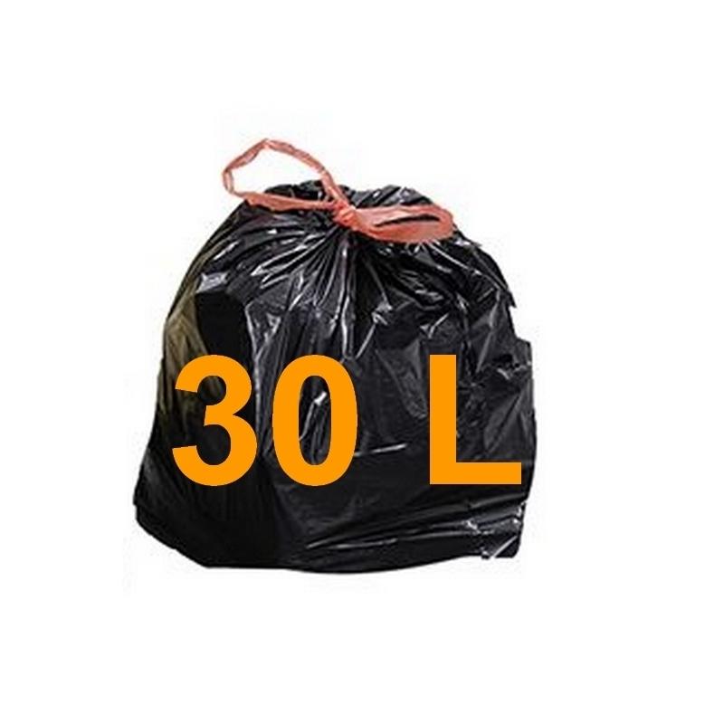 Sacs poubelle Sac poubelle noir 30 litres - Lien coulissant - Carton de 200