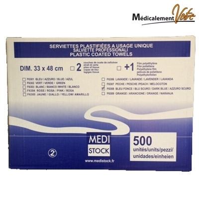 Serviettes plastifiées bleues - 33 x 48 cm - Paquet de 125