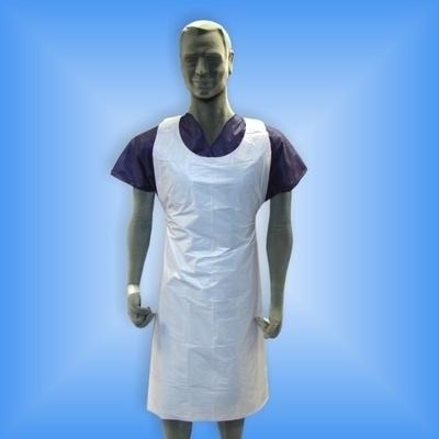 Tablier / Bavoir / Manchette Tablier plastique blanc - 80 x 140 cm - Paquet x 100