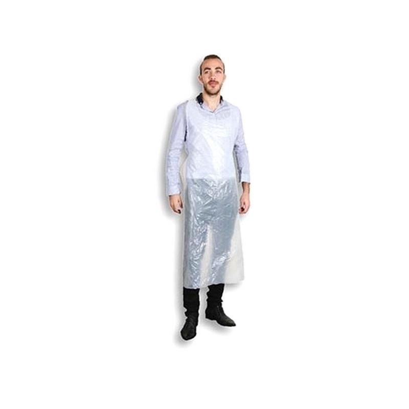 Tablier, Chemise & Paréo Tablier plastique blanc - 125 cm - Pack de 100