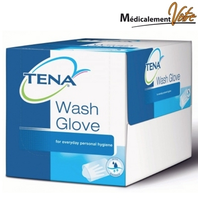 Gant non tissé Gant de toilette TENA wash gloves - Jetable non tissé - Boite x 200
