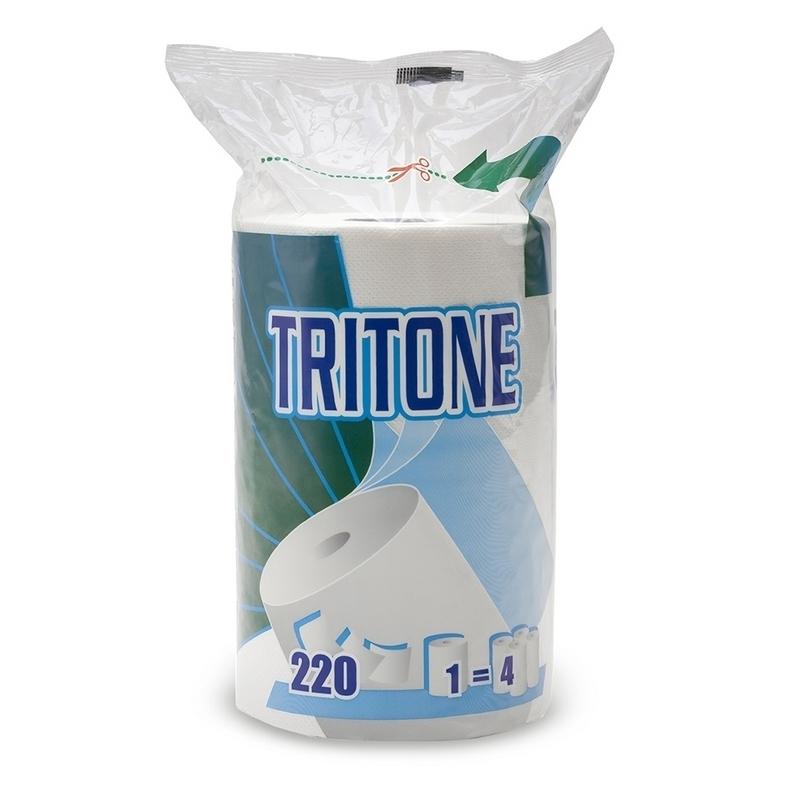 Essuie-mains & Essuie-tout Essuie tout compact Tritone - 220 formats 3 plis gaufré - Rouleau ou Ballot de 12 rouleaux