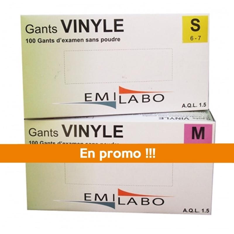 Toutes les promotions Gant vinyle sans poudre Emilabo - Boite x 100 - Toutes tailles