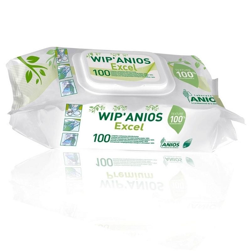 Lingettes désinfectantes Lingettes Wip'Anios Excel - Biodégradables - Paquet de 100